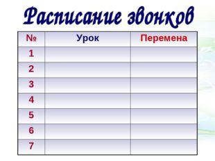 №УрокПеремена 1 2 3 4 5 6 7