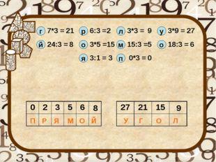 г й 7*3 = 21 24:3 = 8 р 6:3 = 2 о 3*5 = 15 л 3*3 = 9 м 15:3 = 5 у 3*9 = 27 о