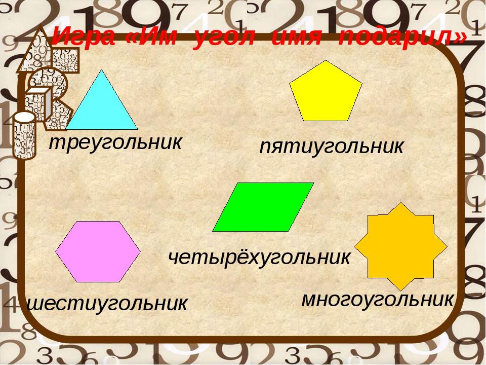 многоугольник четырёхугольник шестиугольник пятиугольник треугольник Игра «Им...