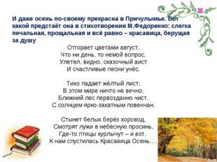 И даже осень по-своему прекрасна в Причулымье. Вот какой предстаёт она в стих