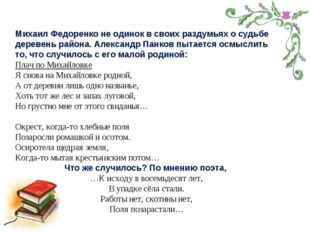 Михаил Федоренко не одинок в своих раздумьях о судьбе деревень района. Алекса