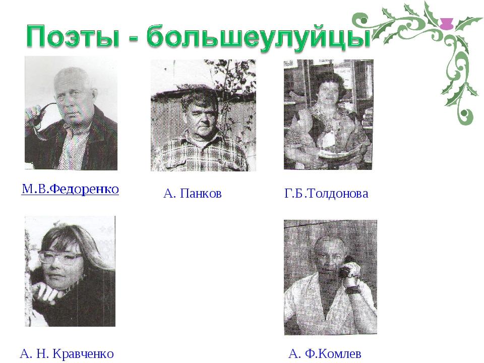 Г.Б.Толдонова А. Панков А. Н. Кравченко А. Ф.Комлев