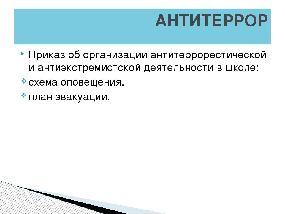 Приказ об организации антитеррорестической и антиэкстремистской деятельности...