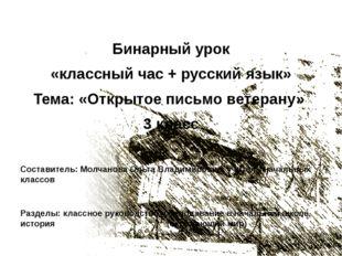 Бинарный урок «классный час + русский язык» Тема: «Открытое письмо ветерану»