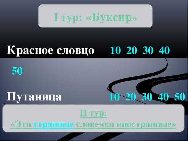 Красное словцо 10 20 30 40 50 Путаница 10 20 30 40 50 Числительный аукцион 1...