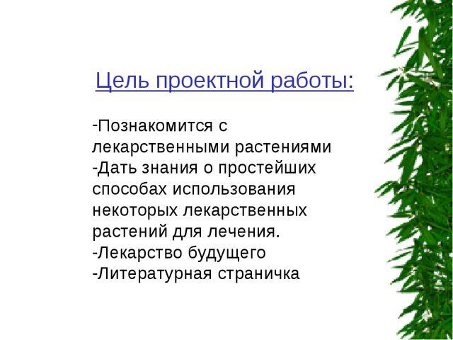 Цель проектной работы: Познакомится с лекарственными растениями -Дать знания...