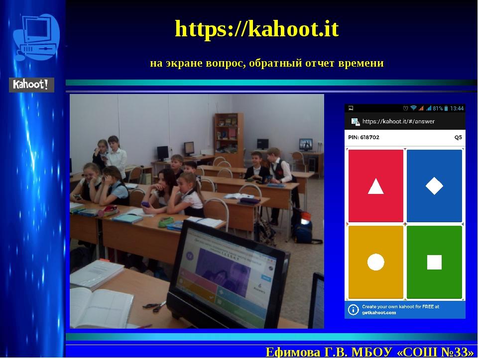 https://kahoot.it Ефимова Г.В. МБОУ «СОШ №33» на экране вопрос, обратный отч...