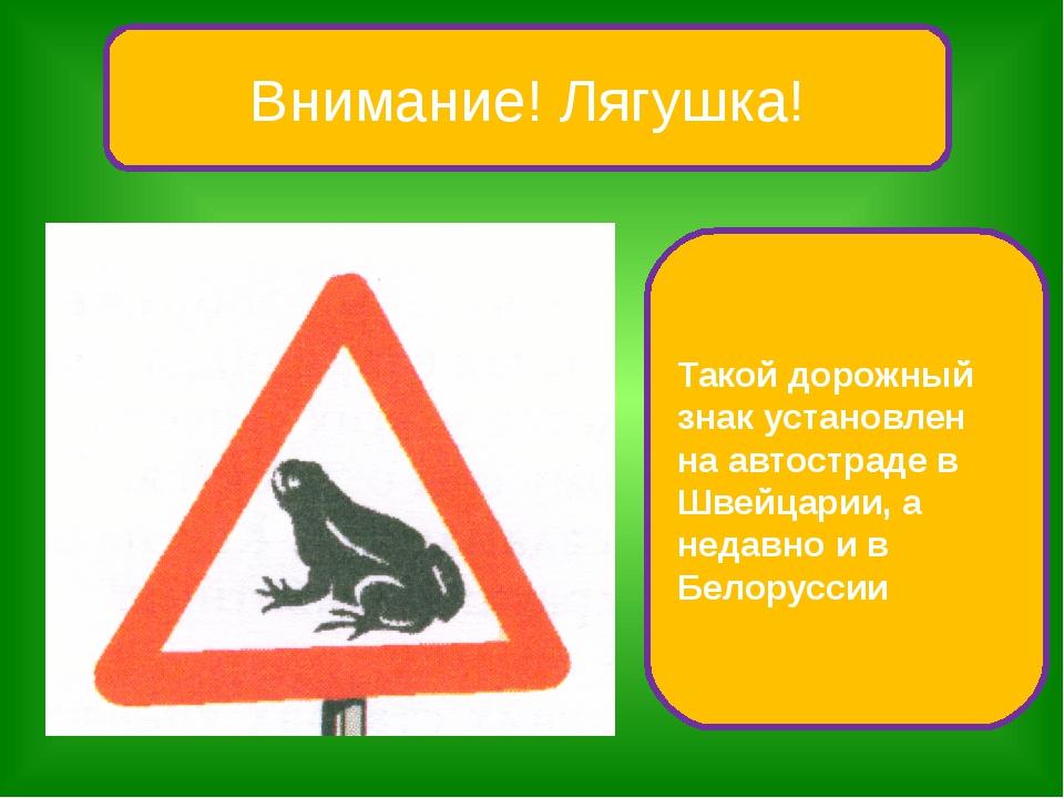 Внимание! Лягушка! Такой дорожный знак установлен на автостраде в Швейцарии,...