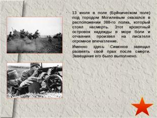13 июля в поле (Буйническом поле) под городом Могилевым оказался в расположе