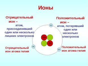 Ионы Положительный ион – атом, потерявший один или несколько электронов Отриц