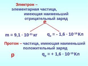 Электрон – элементарная частица, имеющая наименьший отрицательный заряд m = 9