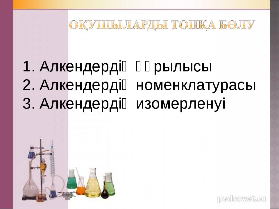 1. Алкендердің құрылысы 2. Алкендердің номенклатурасы 3. Алкендердің изомерле...