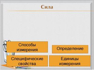 Определение Специфические свойства Единицы измерения Способы измерения Сила