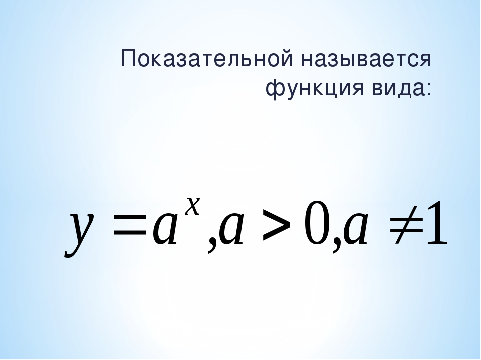 Показательной называется функция вида: