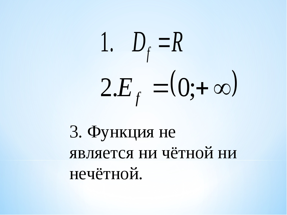 3. Функция не является ни чётной ни нечётной.