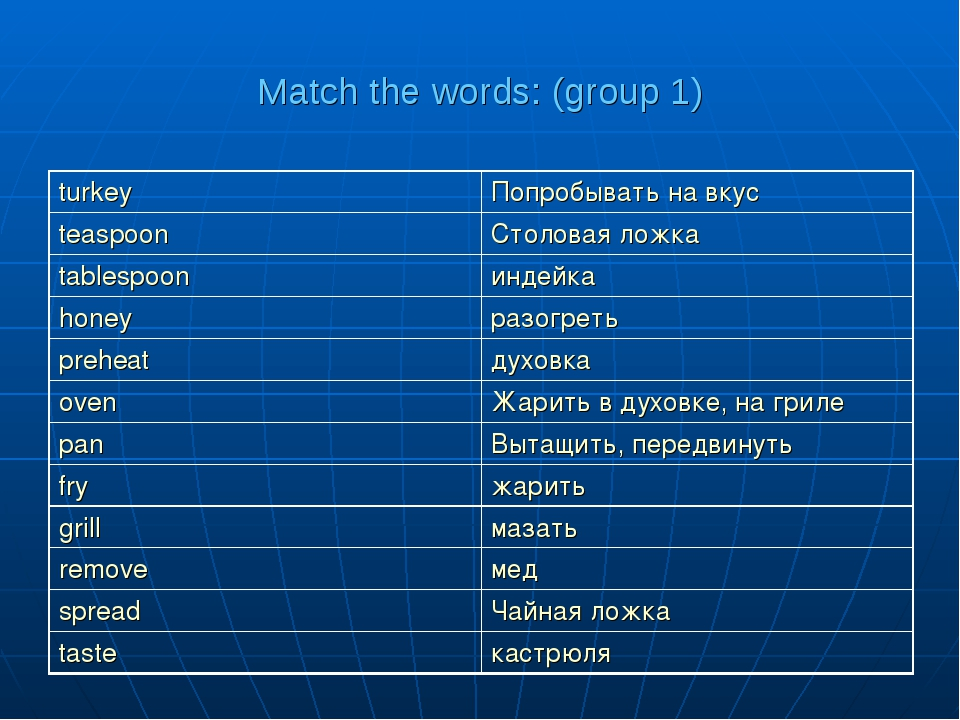 Match the words: (group 1)