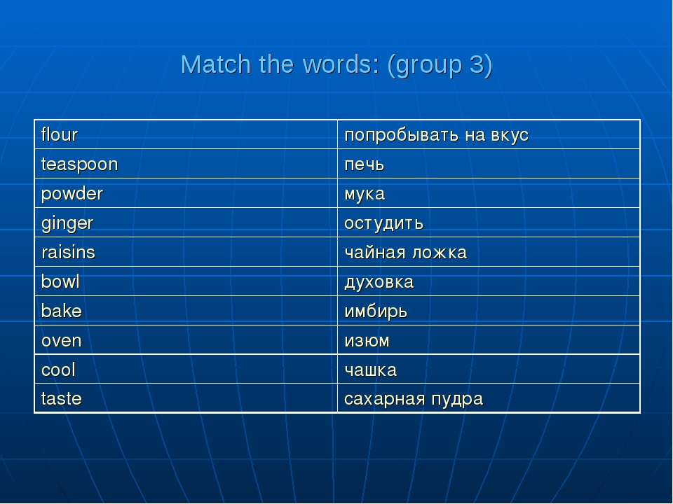 Match the words: (group 3)