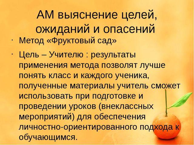 АМ выяснение целей, ожиданий и опасений Метод «Фруктовый сад» Цель – Учителю...
