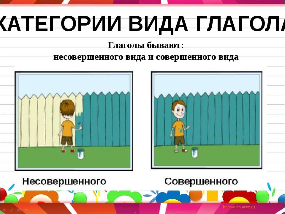 Глаголы бывают: несовершенного вида и совершенного вида КАТЕГОРИИ ВИДА ГЛАГОЛА
