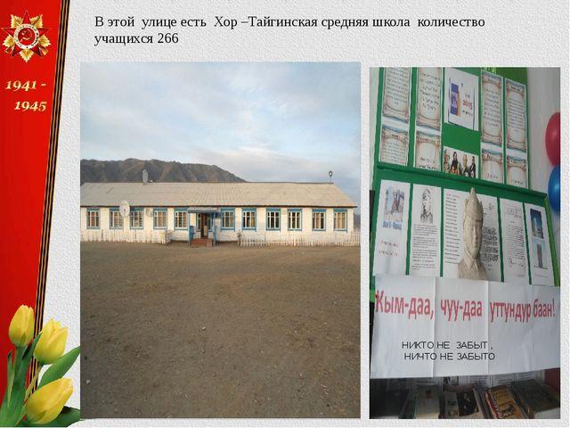В этой улице есть Хор –Тайгинская средняя школа количество учащихся 266 НИКТО...