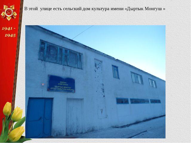 В этой улице есть сельский дом культура имени «Дыртык Монгуш »