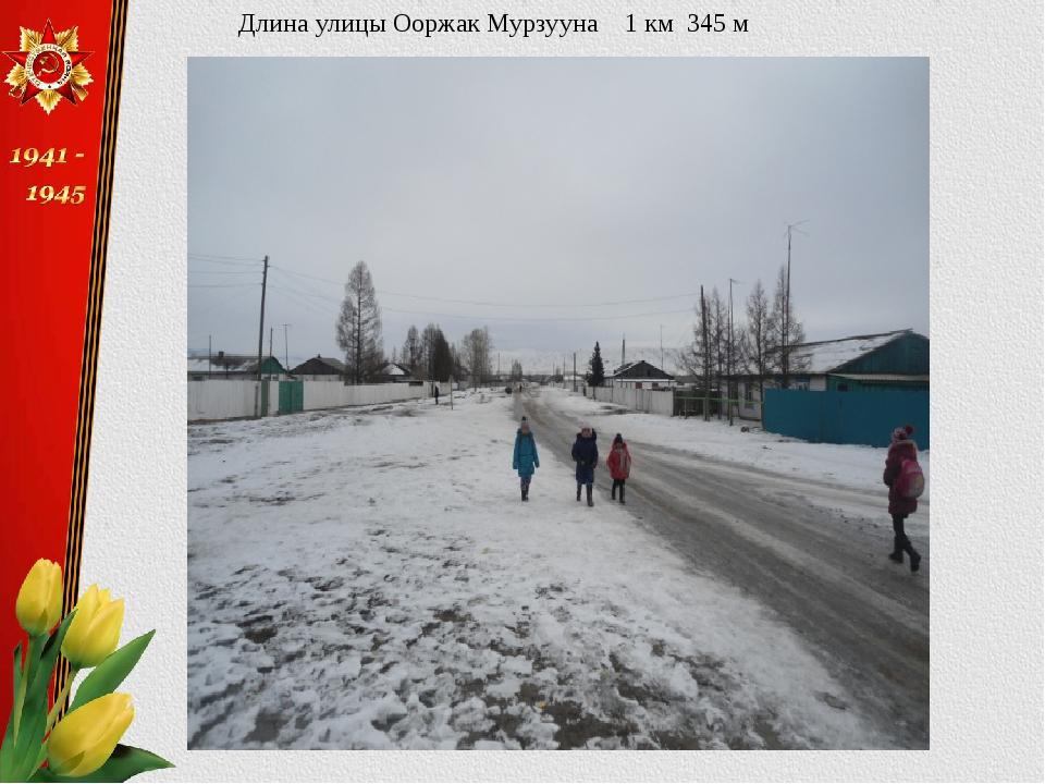 Длина улицы Ооржак Мурзууна 1 км 345 м