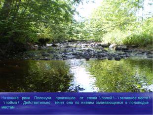 Название реки Полонуха произошло от слова \ полой \ - \ заливное место \ \ по