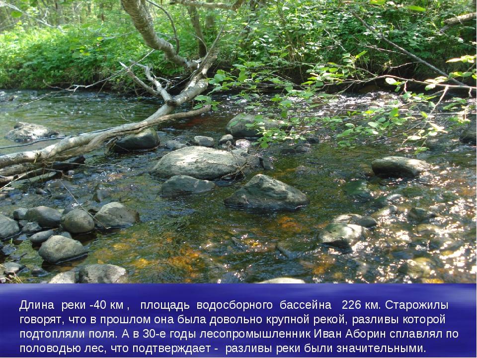 Длина реки -40 км , площадь водосборного бассейна 226 км. Старожилы говорят,...
