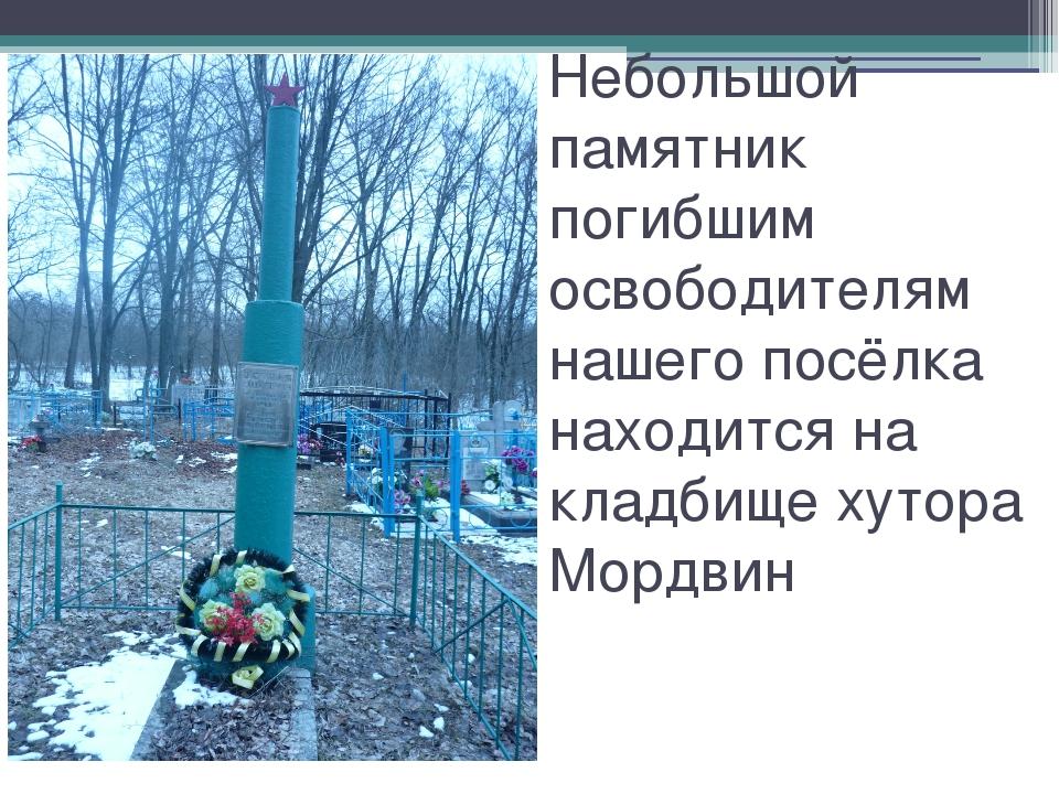 Небольшой памятник погибшим освободителям нашего посёлка находится на кладбищ...