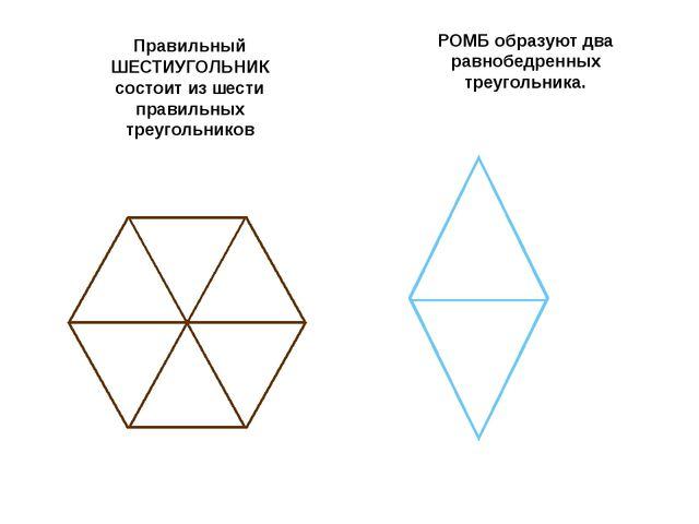 Правильный ШЕСТИУГОЛЬНИК состоит из шести правильных треугольников РОМБ обра...