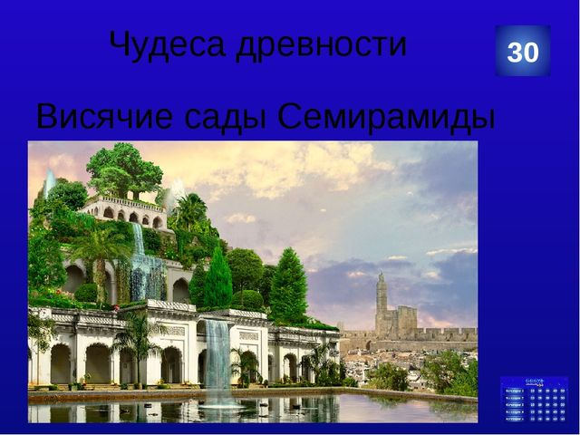 Чудеса древности Висячие сады Семирамиды 30 Категория Ваш ответ