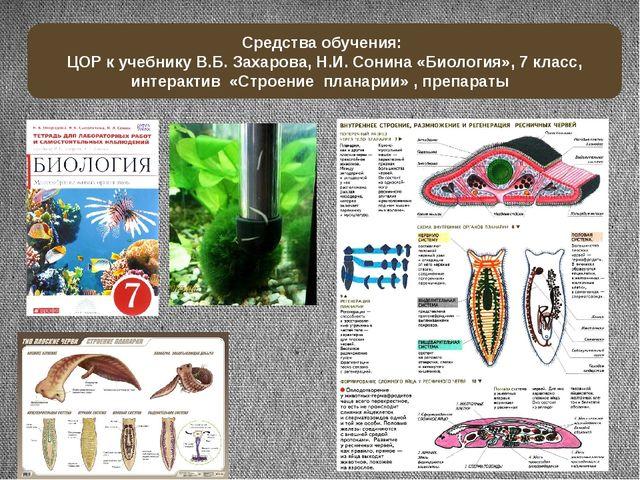 Средства обучения: ЦОР к учебнику В.Б. Захарова, Н.И. Сонина «Биология», 7 кл...