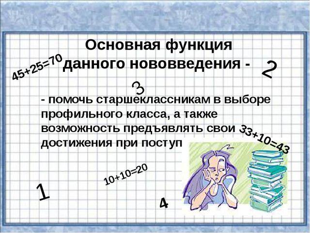 Основная функция данного нововведения - - помочь старшеклассникам в выборе пр...