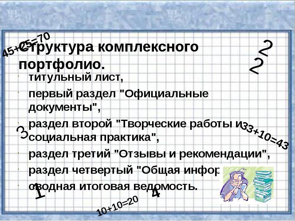 """титульный лист, первый раздел """"Официальные документы"""", раздел второй """"Творче..."""