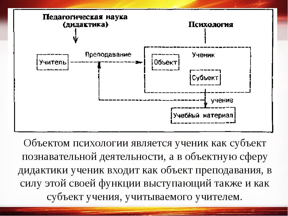 Объектом психологии является ученик как субъект познавательной деятельности,...
