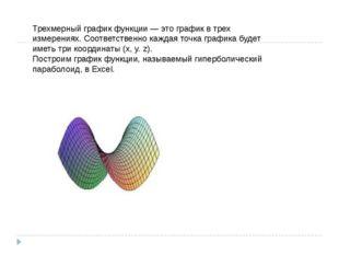 Трехмерный график функции — это график в трех измерениях. Соответственно кажд