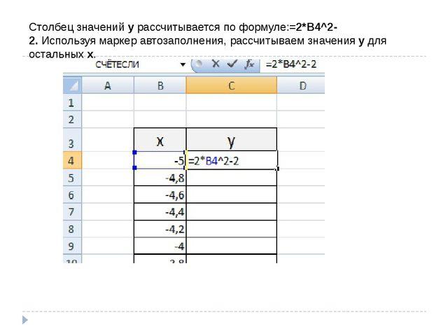Столбец значений у рассчитывается по формуле:=2*B4^2-2.Используя маркер авто...