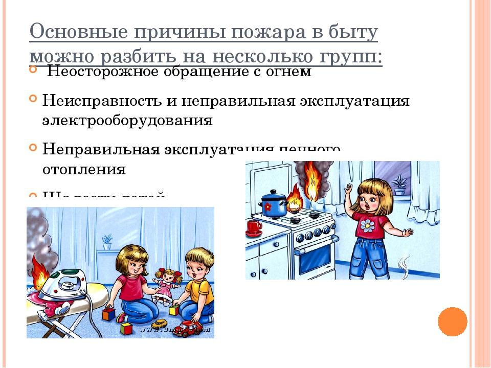 Основные причины пожара в быту можно разбить на несколько групп: Неосторожное...