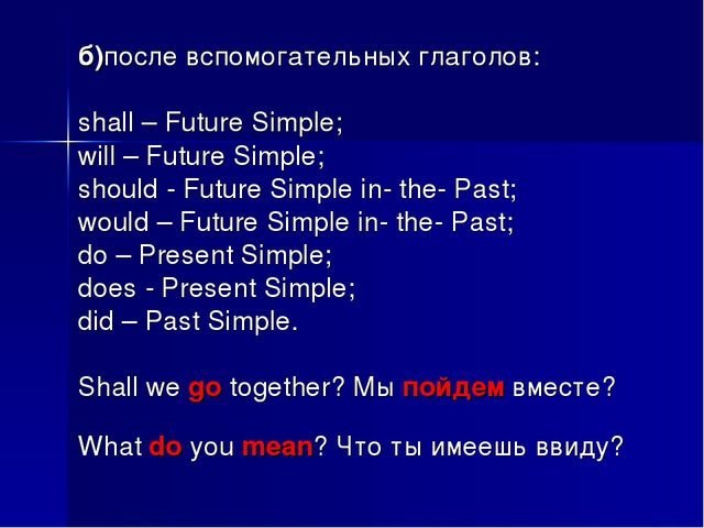 б)после вспомогательных глаголов: shall – Future Simple; will – Future Simple...