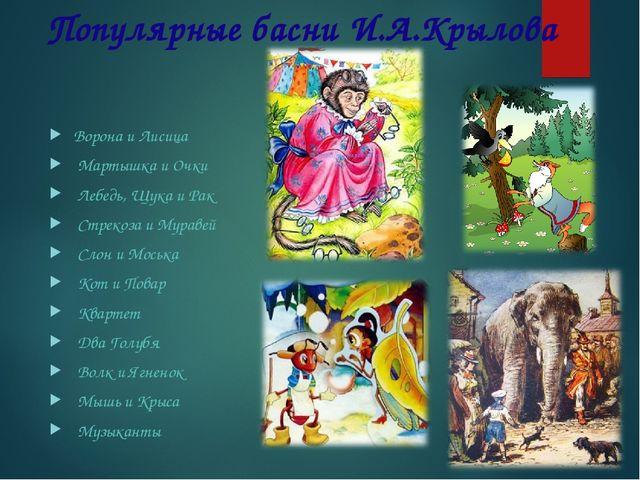 Популярные басни И.А.Крылова Ворона и Лисица Мартышка и Очки Лебедь, Щука и...