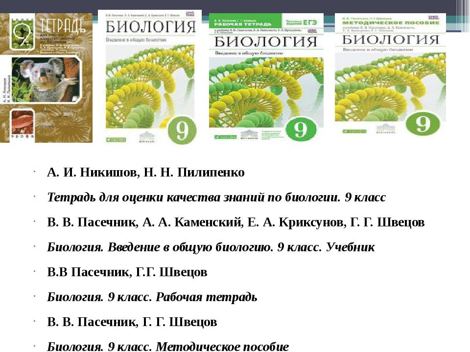 Гдз по биологии a и никишов