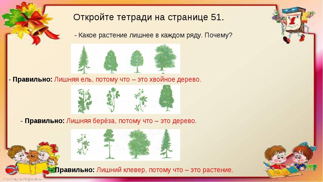 Откройте тетради на странице 51. - Какое растение лишнее в каждом ряду. Почем...