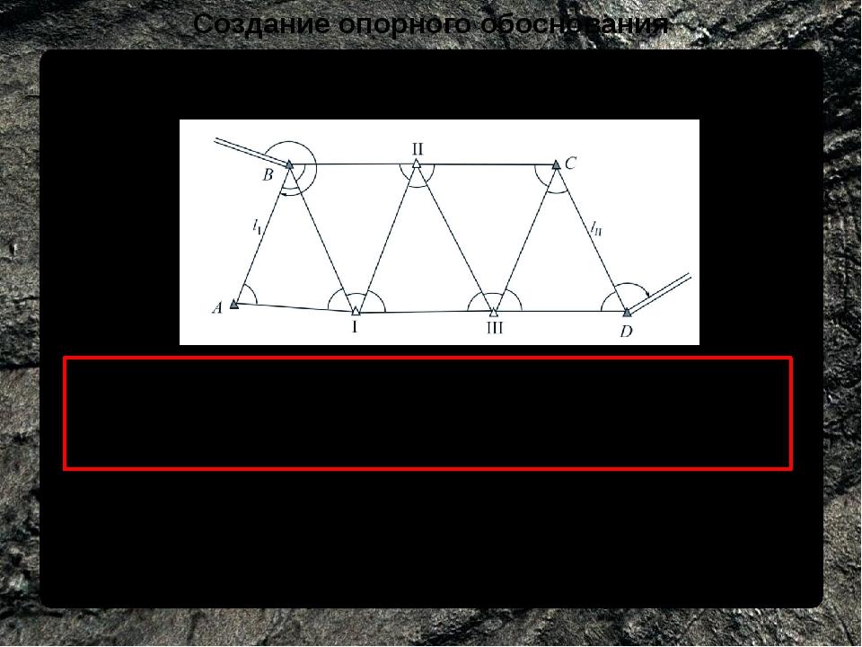 Создание опорного обоснования Создания маркшейдерской опорной сети методом тр...