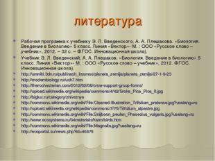 литература Рабочая программа к учебнику Э. Л. Введенского, А. А. Плешакова. «