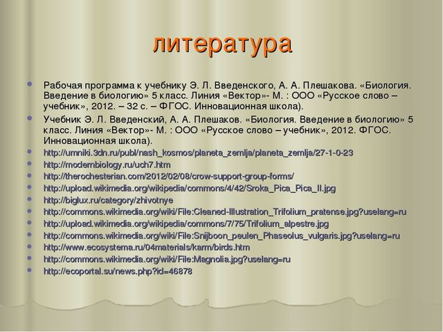 литература Рабочая программа к учебнику Э. Л. Введенского, А. А. Плешакова. «...