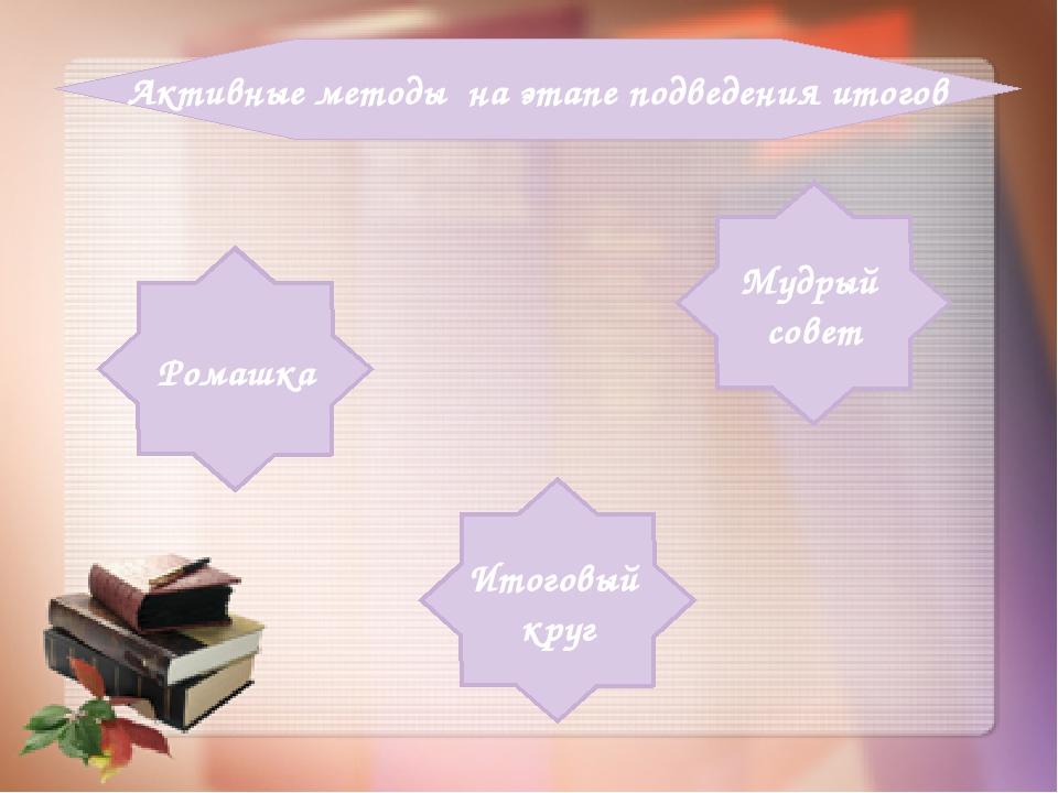Активные методы на этапе подведения итогов Итоговый круг Ромашка Мудрый совет