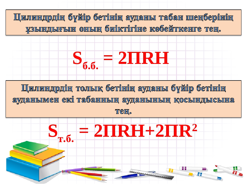 Sб.б. = 2ПRH Sт.б. = 2ПRH+2ПR2