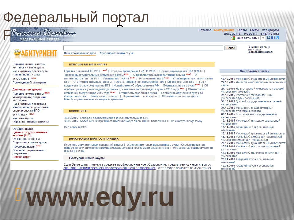 Федеральный портал Российской образование. www.edy.ru