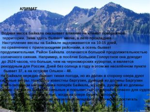 КЛИМАТ Водная масса Байкала оказывает влияние на климат пребрежной территории