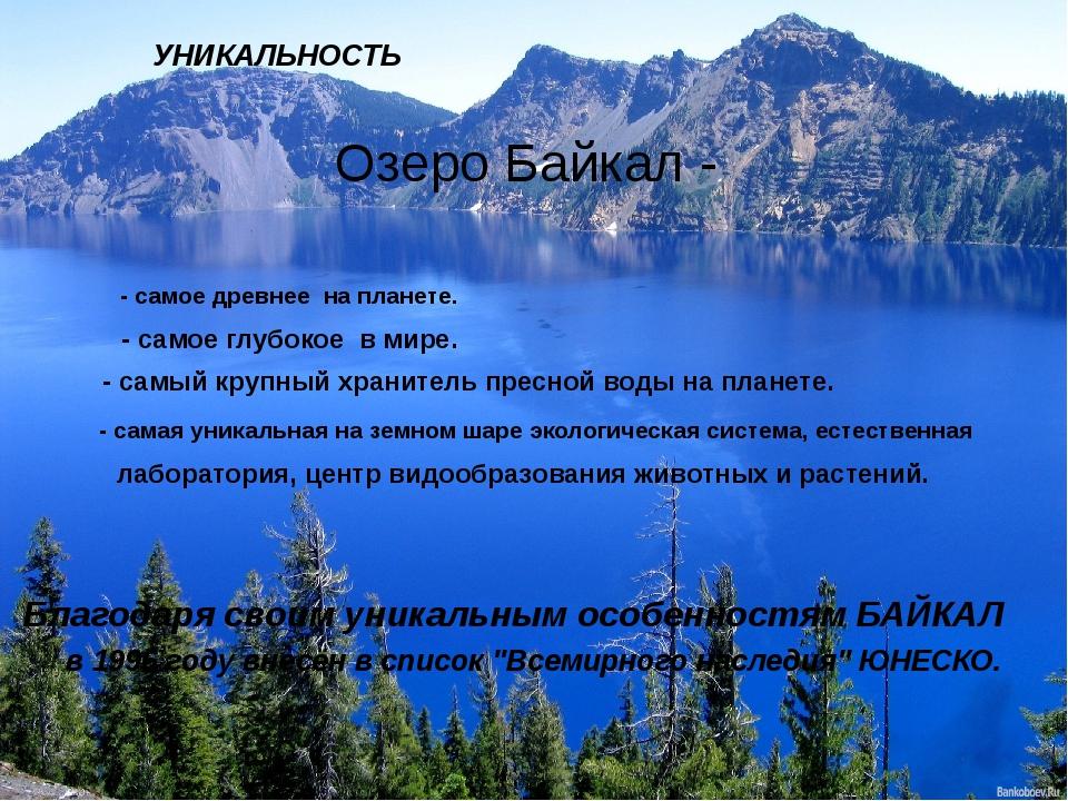 УНИКАЛЬНОСТЬ Озеро Байкал - - самое древнее на планете. - самое глубокое в ми...